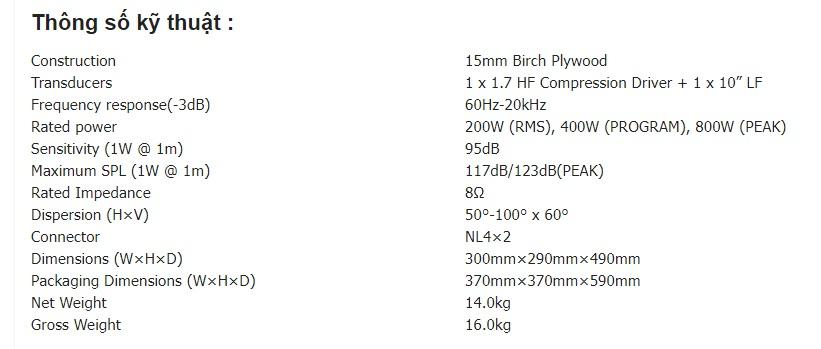 thông số kỹ thuật loa b3 x110 pro